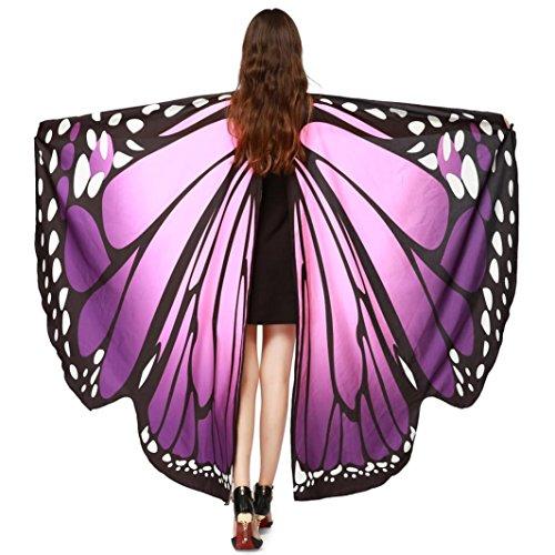 che Gewebe Schmetterlings Flügel Schal Sonnena,feenhafte Damen Nymphe Pixie Halloween Cosplay Weihnachten Cosplay Kostüm Zusatz (Freie Größe, Sexy Lila) (Herren Halloween Kostüme Bilder)