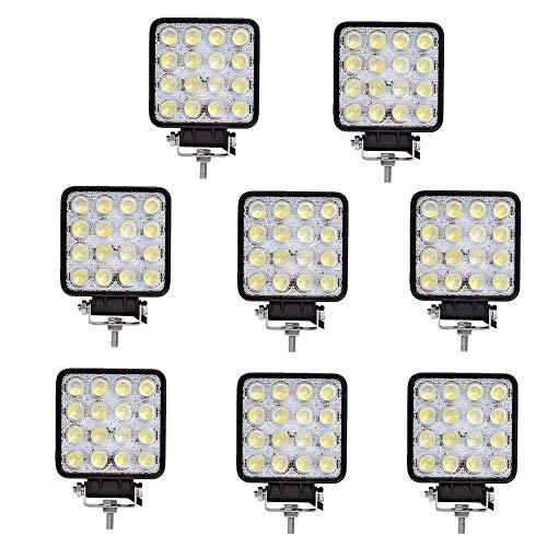 8 X 48W LED arbeitsscheinwerfer Offroad 12V 24V Quadrat Scheinwerfer Weiß 6500K Arbeitslicht Flutlicht für SUV UTV ATV Arbeitslampe