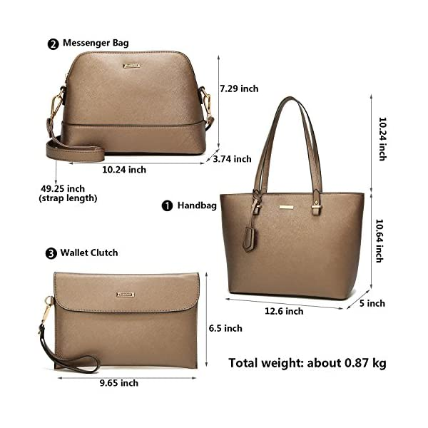 ELIMPAUL Women Fashion Handbags Top Synthetic Leather Shoulder Bag Purse Card Holder Tote Bag Set 4pc - top-handle-bags