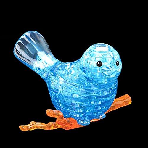 Kofun 3D-Kristall-Puzzle, Vogel-Motiv, mit bunten Lichtern, Geschenk, Heimdekoration, Tier-Puzzle-Modell, plastik, blau, 13cm x 12cm x 8cm (5.12in x 4.72in x 3.15in).