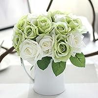 Fiori artificiali, rose artificiali in seta e plastica, 9fiori, per bouquet da sposa, fiori finti per casa, giardino e decorazione per festa di nozze Green White
