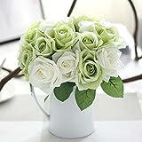 Unechte Blumen,Künstliche Deko Blumen Gefälschte Blumen Seidenrosen Plastik 9 Köpfe Braut Hochzeitsblumenstrauß für Haus Garten Party Blumenschmuck(Grün Weiß)