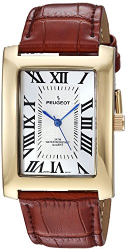 Peugeot Men's 'Vintage Rectangular' Quartz Metal and Leather Casual Watch, Color:Brown (Model: 2051GBR)