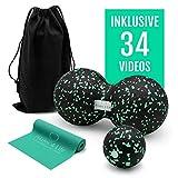 Pilates 4 Life Premium Faszien Set - inkl. 34 Online-Trainingsvideos - hochwertiger Faszienball, Duoball & Fitnessband aus 100% Naturkautschuk