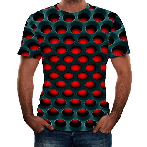 Damen Basic Crewneck Tee (Dasongff Herren Druck T-Shirt 3D Muster Shirt Kurze Ärmel Grafik Muskelshirt Spaß Motiv Tops Oversize Kurzarmshirt Sport Oberteile Print Unisex Basic Hemd Casual Sommer Lässige (Schwarz, XXXXXXL))