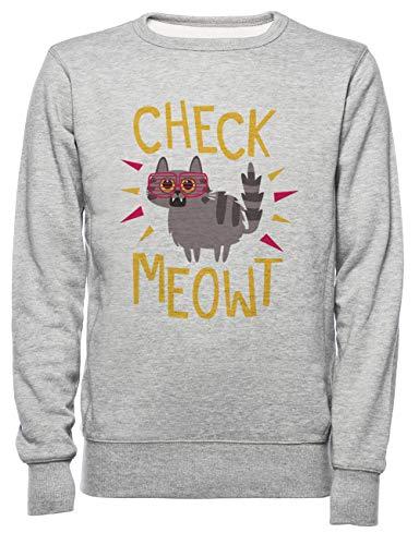 Rundi Check Meowt Herren Damen Unisex Sweatshirt Jumper Grau Größe M - Women's Men's Unisex Sweatshirt Jumper Grey