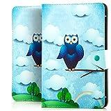 Saxonia Tablettasche Case Universal Tablet Tasche mit Motiv Blaue Eule