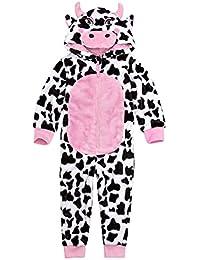 Onezee Girls Novelty Hooded Flannel Fleece Cow Jumpsuit Costume