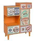 ts-ideen Kommode Regal Schrank Minibar Ablage Vintage Antik Industrie Design Used Style Holz Orange mit 4 bunten Schubladen Fach und Tür