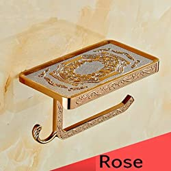 Generic Gold/Rose/Black/Chrome//White/Antique Toilet Paper Holders Mobile Phone Holder With Hook Bathroom Accessories Paper Shelf Burgundy