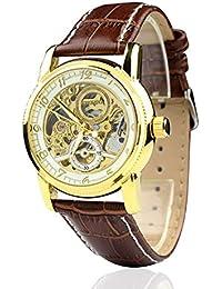 Ciudad para Hombre dorado Case automático esqueleto Dial correa de piel color marrón reloj de pulsera