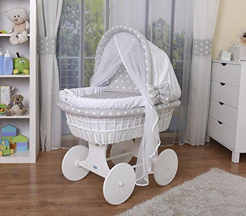 WALDIN Baby Stubenwagen-Set mit Ausstattung,XXL,Bollerwagen,komplett,44 Modelle wählbar,Gestell/Räder weiß lackiert,Stoffe weiß/Sterne-weiß