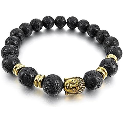 MunkiMix 10mm Ancho Aleación Pulsera Brazalete Energía Piedras Piedra De Lava Negro Oro Dorado Budismo Budista Mala Hombre,Mujer