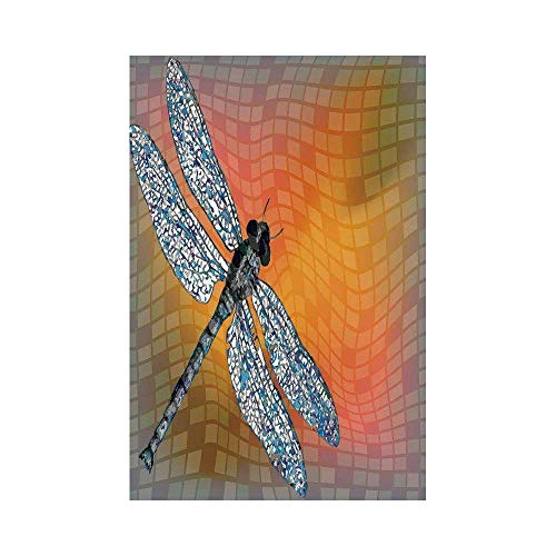 Liumiang Eco-Friendly Manual Custom Garden Flag Demonstration Flag Game Flag,Dragonfly,Bird Like Bugs Flying on Orange Marigold Abstract Geometrical Digital Backdrop,Multicolorec décor -