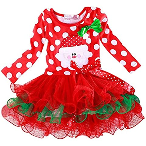 Malloom® niños y niñas Ropa Año Nuevo Navidad Lunares Rojo Vestido