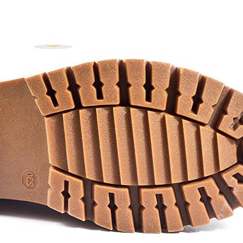 HAIZHEN  Stivaletto Sneakers da donna Comfort Microfibra Comfort Casual Comfort Lace-up Tacco Nero, Marrone 2.36 in (6cm) Per 18-40 anni ( Colore : Nero , dimensioni : EU36/UK3.5/CN35 ) Marrone