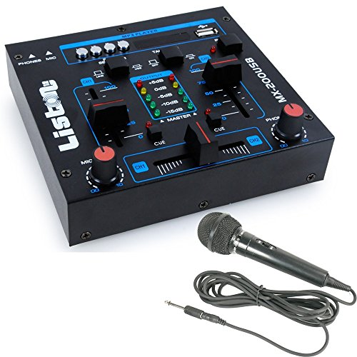 WJG Industrievertretung 4-Kanal DJ Mischpult USB/MP3 Crossfading Talkover MX-200USB Inklusive Mikrofon