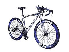 Idea Regalo - Helliot Bikes Sport 02, Bici da Strada Unisex – Adulto, Bianco e Blu, M-L