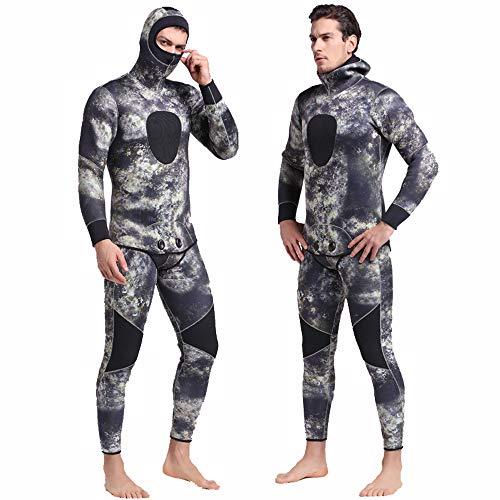 ba602caf9eef Diving Suit Traje de Buceo Traje de Buceo de Camuflaje de 5 mm Caza  submarina con Capucha 2 Piezas Traje de Buceo de Buceo Grueso Manga Larga  con ...