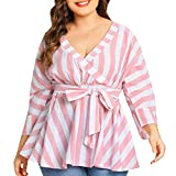 Damen Locker Top Elegant Frauen Streifen Langarmshirt Oberteile V-Ausschnitt Mode Bluse Pullover Tuniken Grosse Grössen. (Rosa, 4XL)