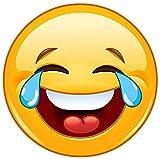 Smiley-Aufkleber Smile with tears XXL I kfz_216 I Ø 20 cm groß I Emoji Sticker für Fahrzeug-Aufkleber Auto-Aufkleber gelb lachend wetterfest