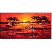 """'Cuadros & Marcos HB–Faith Jones """"Africa Sunset II Cuadro, impresión sobre madera, Póster sobre madera, borde negro"""