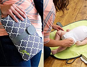 Babies Bloom Waterproof Portable Baby Changing Station Mommy Clutch, Black/Brown