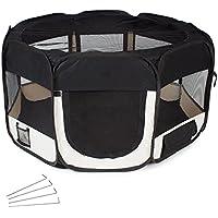 TecTake Welpenlaufstall Tierlaufstall für Kleintiere wie Hunde, Katzen - diverse Farben - (Schwarz)