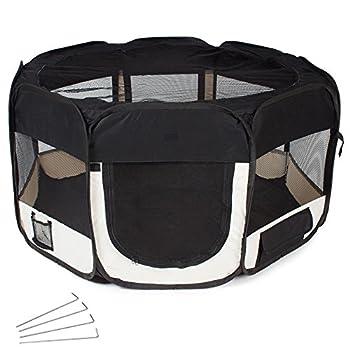 TecTake Parc à chiots chien chaton chat enclos pour chiens 125 x 125 x 64 cm (LxlxH) noir