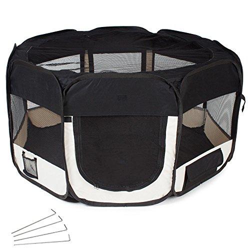 TecTake Welpenlaufstall Tierlaufstall schwarz für Kleintiere wie Hunde, Hasen, Katzen