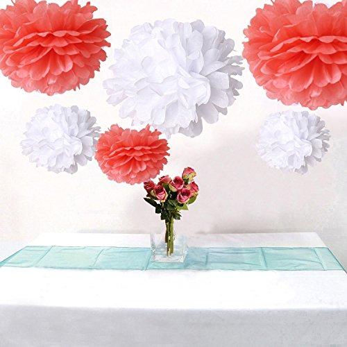 12Party Pompons aus Seidenpapier, in den Farben Koralle und Weiß gemischt, Dekoration für Hochzeiten, Brautpartys, Geburtstage