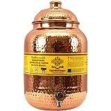 Indian Art Villa Hammered Copper Water Dispenser Container Pot Matka, Storage Water, Kitchenware, 8 Ltr