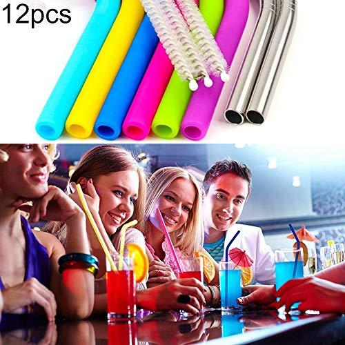 Bbl345dLlo Wiederverwendbar Trinkhalme, 12pcs wiederverwendbare kalte Getr?nkesaft Trinkhalm B¨¹rstenbeutel Party Home Geschirr - Multicolor