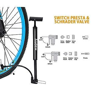 Audew Bomba para Bicicleta Válvula Presta y Schrader con 160PSI Bomba Mano Bicicleta para Carretera, Montaña, MTB, Patinete, Bicicleta Infantil y Balones