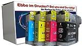 ESMOnline 4 komp. XL Druckerpatronen mit neusten V3 Chip als Ersatz für Brother LC-123 BK/CY/M/Y 1 x schwarz 1 x blau 1 x rot 1 x gelb