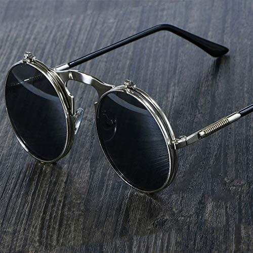 KIDYNO Sonnenbrille-rundeMetallfrauen-Art-Schlag-kreisförmige doppelte Metallsonnenbrille-Männer Kreis-Sonnenbrille