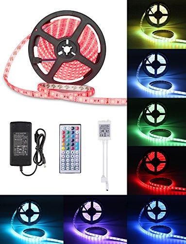 5M LED-Streifen-Licht, IP65 Wasserfestes LED Beleuchtung Farbwechsel Dimmbar LED-Strip-Kit mit 150 SMD 5050 RGB-LEDS 44-Tasten-Infrarot-Fernbedienung 12V DC Netzteil und Verbinder für Weihnachten Feiertage Heim Küche Dekoration