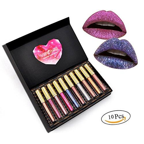 10 Couleurs Liquide Ensemble de Rouge à Lèvres,Kinut Maquillage Imperméable à l'eau Aucune Tasse de Verre d'eau dépoli Cadeau de Lipgloss Pour Fille