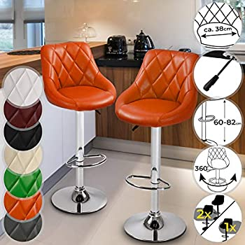 MIADOMODO Bar Stool with Footrest - Height Adjustable, with Faux Leather Padding and Metal Base - Choice of Set and Colour - Home Bar Counter Chair Breakfast Kitchen Swivel Furniture (Orange, 2 pcs)