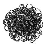 ETHAHE 600 Stück Schwarz Latex-Frei Loom Wiederbefüllbare Gummibänder Armband mit 24 C-Clips