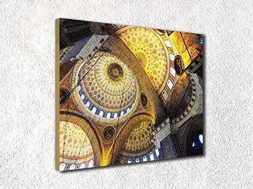 cwb2jcwb2jcwb2j Canvas Print Canvas Art Wrap Islamic Photography Print Yellow Gold Gray Black Abstract Circles Interior Decor Solvent Printed Religious Bedroom Bathroom Decoration Wall Art Wall Decor -