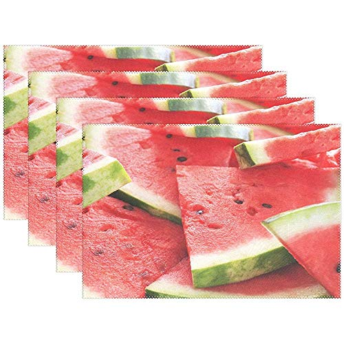Köstliche Sommerfrucht Wassermelone Hitzebeständige Tischsets, Polyester Tischset Tischset Für Küche Esszimmer Set Von 6, 45X30 Cm