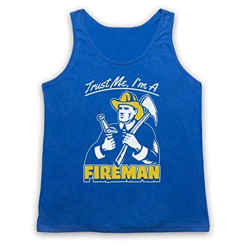 Trust Me I'm A Fireman Funny Work Slogan Tank-Top Weste Blau