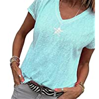 CRYYU Women's Solid Loose V Neck Plus Size Short Sleeve Casual Blouse T-Shirt Top 1 XXXS