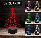 Lampada a led 7 colori selezionabili ALBERO DI NATALE a batteria + cavo usb decorazioni luci a led colorate di Natale arredo interno casa luci natalizie IDEA REGALO DI NATALE