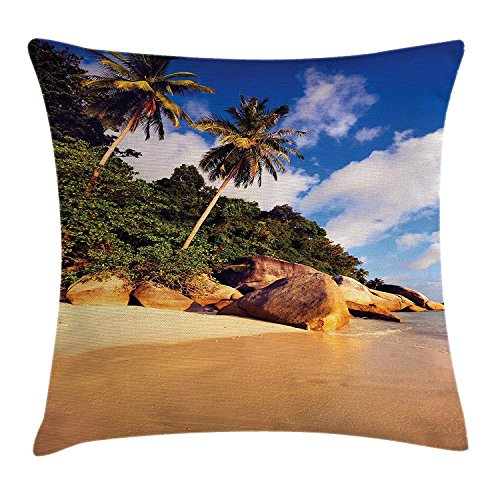 ecor Throw Pillow Cushion Cover, Tropical Beach Serenity in Nature Exotic Fruit Coconut Rock Seascape Print, Decorative Square Accent Pillow Case, Green Brown16 ()