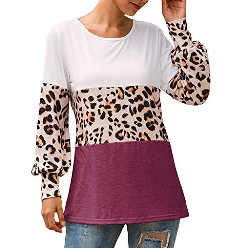 Berimaterry Damen Langarmshirt Mode Leopardenmuster Patchwork Langarm T-Shirt Casual Rundhals Tunika Oberteile Tops Herbst Lose Bluse für Frauen