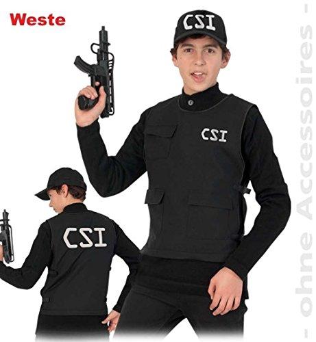 CSI Weste 164 Polizei-Weste Fasching Kinder-Kostüm 140 - 164 (Csi Kostüm Weste)
