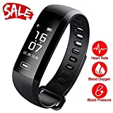 TEZER Smart Fitness Tracker,Smart Watch with Blood Pressure Heart Rate Sleep Pedometer Camera remote shoot Blood Oxygen Monitor Smart Wristband Bracelet READ for Bluetooth Andriod and ios (black)