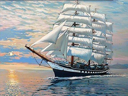 KeyYouNi DIY Ölgemälde, Malen Nach Zahlen Kit Schiff und Sea Home Dekoration Öl Gemälde mit gerahmt Oder Nicht Wooden Framed White Sailing Boat (Hölzerne Schiffe-kits)